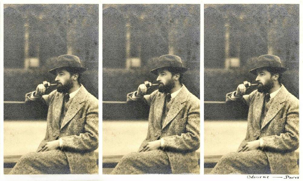 William Faulkner in Paris smoking a cigar