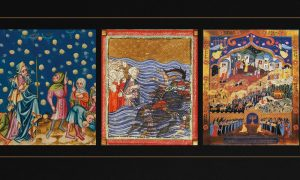 Paintings of manna from heaven, Moses and the Red Sea, and the miracle of the oil
