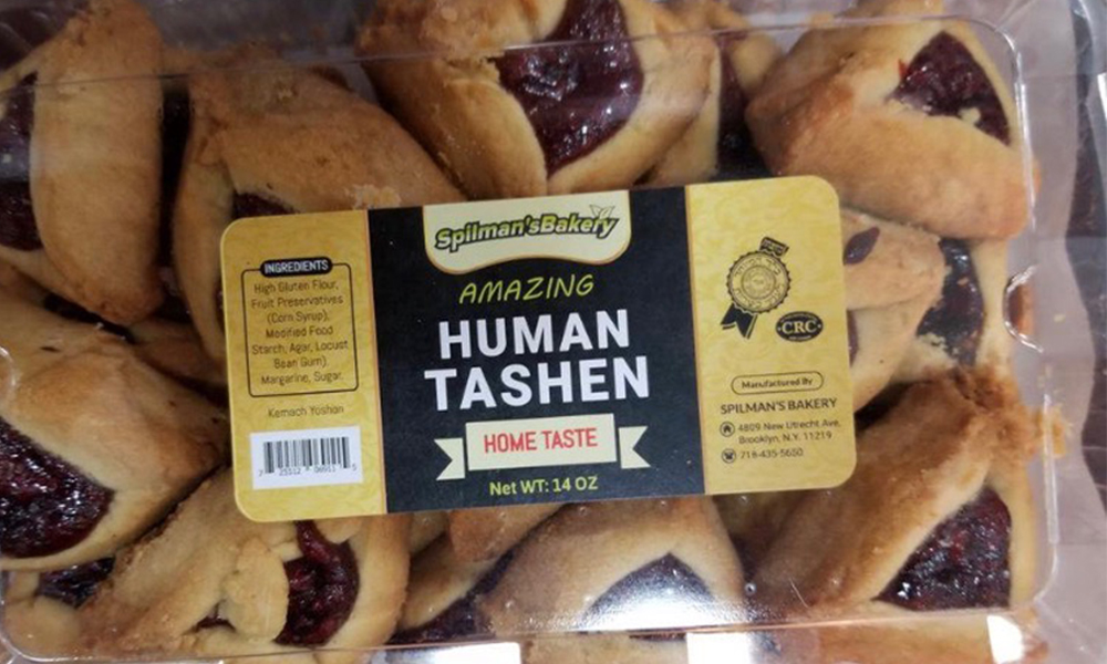 """Hamentashan cookies are shown with the label """"Human Tashen."""""""
